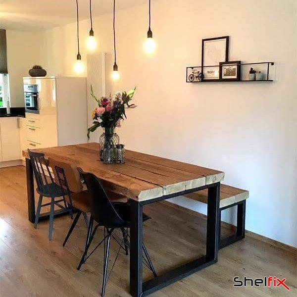 میز نهار خوری فلزی با چوب طبیعی