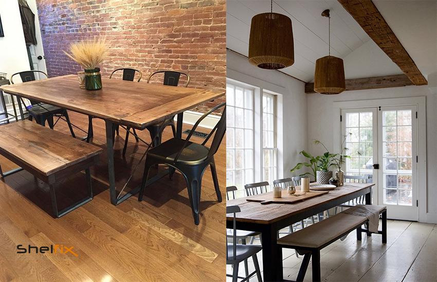 نیمکتهای چوبی با پایه های فلزی و صنعتی